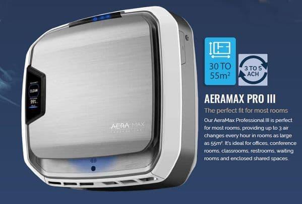Aeramax PRO III 55m2 Hepa, Carbon Plasma Ioniser Commercial Air Purifier 240V~50Hz